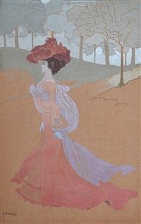 femme à l'écharpe mauve by georges de feure