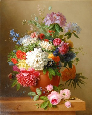 still life of peonies, roses, honeysuckle, poppies, and other flowers by arnoldus bloemers