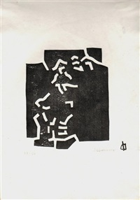 lot 56: signed chillida composition woodblock by eduardo chillida