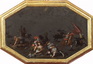 the conversion of st. paul and the apparition of st. james at the battle of clavijo (a pair) by filippo napoletano