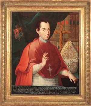 portrait of alfonso núñez de haro y peralta, archbishop of mexico by josé de paez
