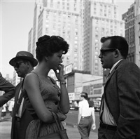 new york (man and woman talking) by vivian maier