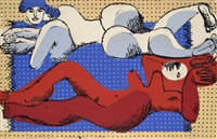 deux femmes nues à la plage, étendues sur une serviette bleue by le corbusier