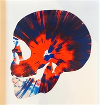 scull spin painting by damien hirst