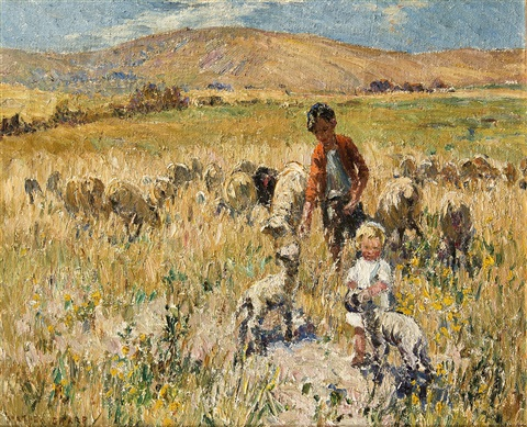 children playing in the field by dorothea sharp
