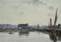 le port de trouville by eugène boudin