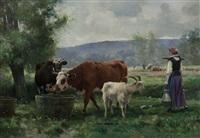 la jeune laitiere avec son troupeau by julien dupré