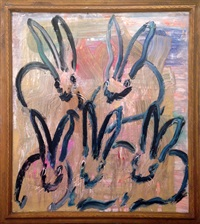 5 golden hares by hunt slonem