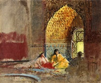 interior of la torre des infantas, the alhambra by edwin lord weeks
