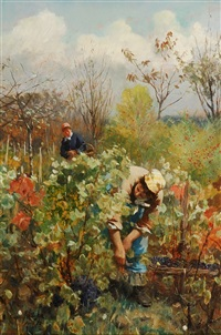 harvesting grapes by daniel ridgway knight