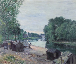 cabanes au bord du loing by alfred sisley