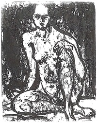 sitting nude girl by ernst ludwig kirchner