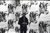 andy warhol with his cow wallpaper exhibited at leo castelli by fred w. mcdarrah
