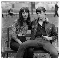 young couple on a bench in washington square park, n.y.c. by diane arbus