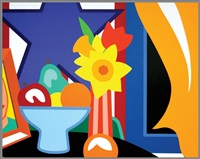 still life with blowing curtain (yellow) by tom wesselmann