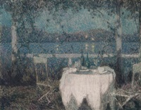 la table sur la terasse au clair du lune by henri le sidaner