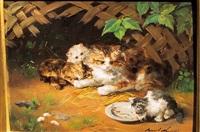 kitten drinking milk by alfred arthur brunel de neuville