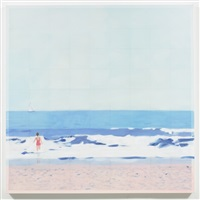 pink suit beach by isca greenfield-sanders
