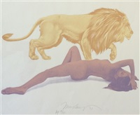 lady and the lion by mel ramos