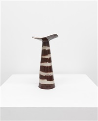 untitled (red vase with red and white stripes) by fausto melotti