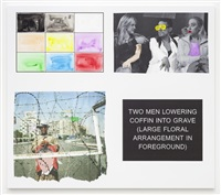 storyboard (in 4 parts): two men lowering coffin into grave large floral arrangement in foreground) by john baldessari