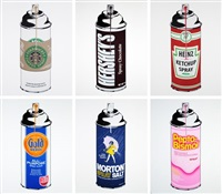 set of 6 spray cans by mr. brainwash