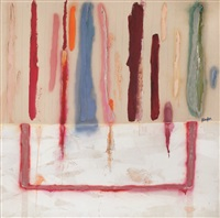 vertical strokes on white ground by joan snyder