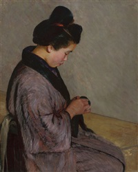 japanese lady sewing by lilla cabot perry
