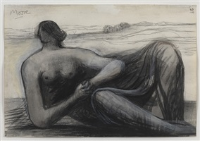 draped reclining figure in a landscape by henry moore