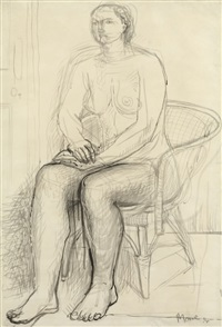 seated nude in a wicker chair by henry moore