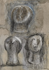 three heads by henry moore