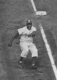 jackie robinson over runs third base, subway series by ralph morse
