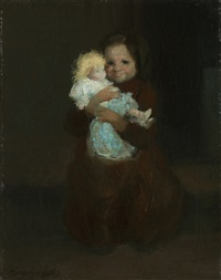 child with doll by george benjamin luks