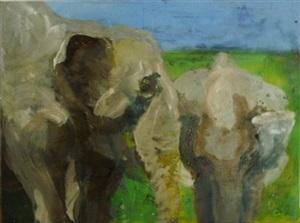 zwei elefanten by rainer fetting