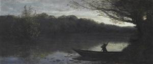 batelier abordant à la rive, le soir (boatman approaching the shore, evening) by jean-baptiste-camille corot