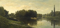 les bords de l'oise (banks of the oise)-l'ile de vaux by charles françois daubigny