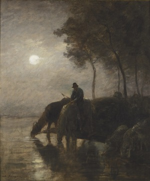 chevaux et moutons s'abreuvant au clair de lune (horses and sheep watering in the moonlight) by charles jacque