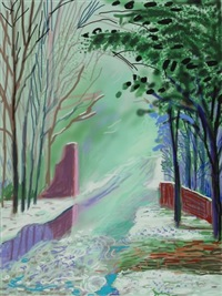 the arrival of spring in woldgate, east yorkshire in 2011 (twenty eleven) - 3 january by david hockney