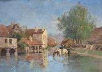 watering the horses, normandie by eugène galien-laloue
