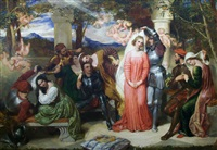 a scene from the faerie queene by edmund spenser; the contest of beauty for the girdle of florimel—briomartis unveiling amoret by frederick richard pickersgill