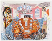 tyler dining room ( from the moving focus series) by david hockney