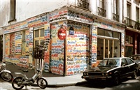 graffiti on the facade during his exhibition