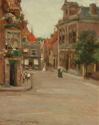 the red roofs of haarlem (old dutch houses of haarlem; a street in holland) by william merritt chase