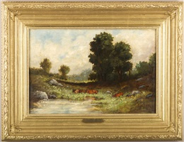 waters edge with cattle by edward bannister