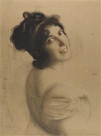 junge dame mit haarband by franz von stuck
