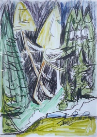 waldstück mit grossen lärchen (bergwald bei wildboden) by ernst ludwig kirchner