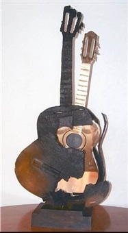 guitare brulee et polie by arman