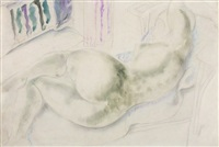 reclining nude with mediterranean window by frank dobson