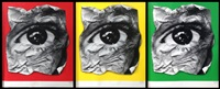 eye froissé (green, red, yellow - 3 works) by jr