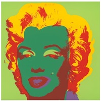 andy warhol marilyn monroe screenprint in lime green background and green face